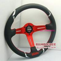 HOT !14 inches MOMO Leather Steering Wheel, racing car steering wheel Aluminum alloy, red,   EK1708
