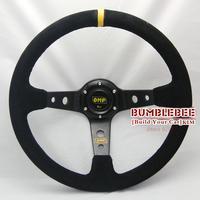 HOT !14 inches OMP Suede Steering Wheel, racing car steering wheel Aluminum alloy, EK1618