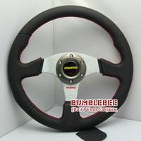 HOT !14 inches MOMO Leather Steering Wheel, racing car steering wheel Aluminum alloy, titanium color, EK1707