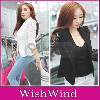 Fashion Women's Ladies Sheer Flower Lace Patchwork Slim Fit White Black OL Top Blazer Blouse Jacket Size M L XL For Sale