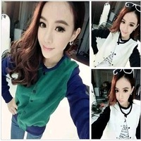 2013 autumn color block patchwork HARAJUKU long-sleeve hoodie coat good looking