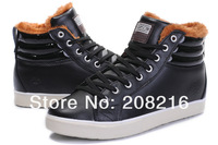 2013 New arrival Brand Men's winter warm sneakers,wool sports shoes,cotton-padded snow boots,leather waterproof,black,40-44
