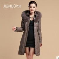 2014 Winter Women's Genuine Sheepskin Leather Down Coat Fox Fur Hoody Female Long Slim Warm Outerwear Plus Size VK1276