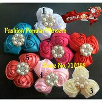 Trail order girl satin rosettes flower head silk rose mesh with Brilliant Pearl flower lovely wedding hair accessories 30pcs/lot