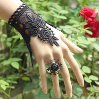 New Steampunk exaggerate jewelry statement black lace Bracelet Gothic Cosplay Wristband Nightclub handcuff  B17
