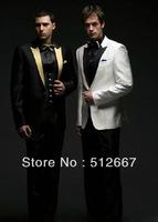 2014 Custom Made to Measure Tailored men's BESPOKE tuxedo,black/white men suit with gold/black collar,men wedding suit