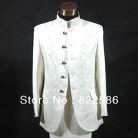 FREE SHIPPING HOT SALE Men's clothing stand collar suits chinese tunic suit men's formal dress white