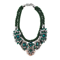 Luxury green crystal vintage chokers shourouk necklaces pendants fashion designer statement necklace for women 2014Free Shipping