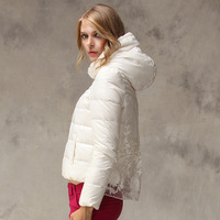 2013 women's fashion embroidery with a hood long-sleeve short design female down coat wadded jacket outerwear