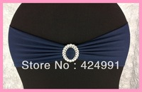 100pcs Navy Blue  Lycra Chair Bands&Sash with Oval buckle ,Double Layer Lycra Bands&Sash for Weddings Events Decoration