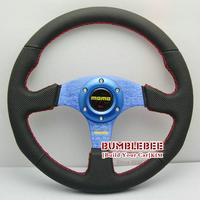 HOT !14 inches MOMO Leather Steering Wheel, racing car steering wheel Aluminum alloy,blue, EK1706