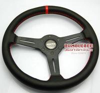 HOT !14 inches MOMO Leather Steering Wheel, racing car steering wheel Aluminum alloy, EK1620