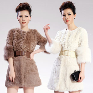 2013 New arrivals Imitation rex rabbit hair coat fox fur coat female fur medium-long plus size free shipping(China (Mainland))