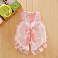 free shipping retail 1pcs lace  gril vest children's vest kids waistcoat fleece vest fur baby clothings bowknot  coat