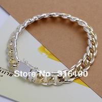 Men's Jewelry 925 sterling silver 10mm golden chains 8'' bracelet bangle H091 gift bag