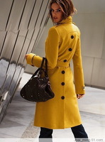 Mustard yellow front and back fashion brief fashion cashmere overcoat multicolor