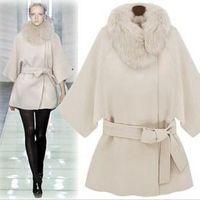 Autumn and winter female fashion woolen cloak overcoat cloak woolen outerwear fur collar cloak overcoat cashmere wool