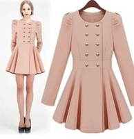 Star style sweet elegant puff sleeve skirt double breasted slim trench outerwear