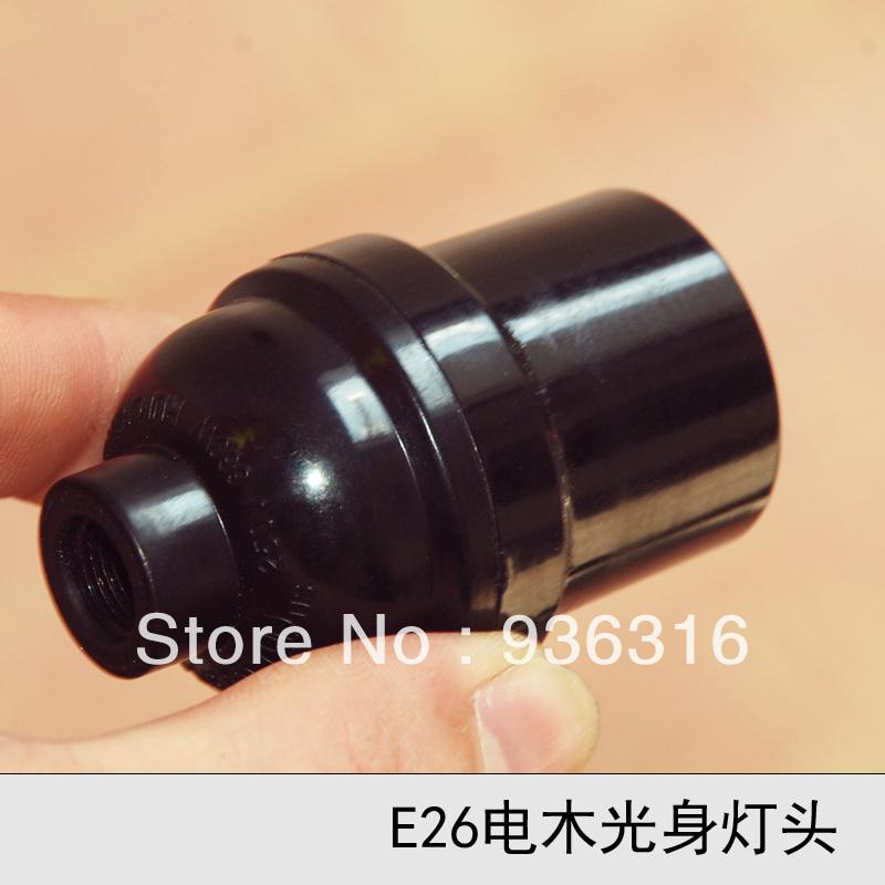 free shipping E26 bakelized black lamp holder UL screw-mount lamp base pendant light heatresisting lamp(China (Mainland))