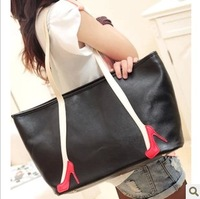 Autumn high-heeled shoes pattern shoulder bag messenger bag color block women's handbag elegant big bags brief