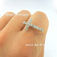 Rhinestone Pave Silver Sideways Cross Connector For Ring Or Bracelet