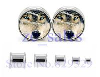6mm-25mm wholesale body piercing jewelry wolf in sonw double flare ear plug flesh tunnel epoxy ear expander 60pcs/lot SDF051