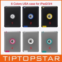921018 Brand new hybrid TPU with plastic PDA case with Holder and retail box brand case for ipad 2 3 4