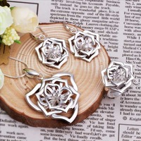 Wholesale Sterling 925 Silver Jewelry Set,925 Silver Fashion Jewelry,Fashion Charm Pendant Necklace+Earring+Ring Set SMTS481