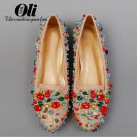 Fashion fashion genuine leather round toe flat heel gem princess rhinestone handmade straw braid women's shoes sandals flat