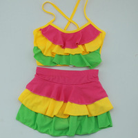 1set retail!2013 child swimwear Child girls two-piece bikini  big split skirt twinset swimwear lovely swimwear 100-160cm 3t 10t