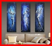 Framed 3 Panel Large Blue Abstract Painting Golf Wall Art Picture Home Decoration XD01719