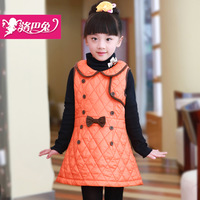 2013 female child cotton tank dress,baby girls child cotton-padded vest outerwear,girl kids winter dress
