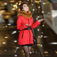 Autumn and winter anne caldwell ultralarge luxurious fur collar down coat female slim medium-long