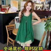 Maternity clothing fashion summer hemp cotton maternity chiffon skirt maternity dress faux two piece maternity tank dress