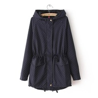 2014 New Spring Women's Clothes Polka Dot Sweep Medium-long Drawstring Outerwear Women Long-sleeve with A Hood Trench