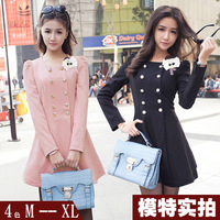 1057 real pictures with model 2013 trench double breasted puff sleeve one-piece dress corsage