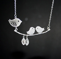 20pcs/lot Birds Setting on Branch Necklace in Silver Two Custom Initials, Personalized Necklace, Great Gift, Silver chain