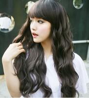 Wig female long roll jiafa fluffy curly hair wigs girls oblique bangs , fake hair