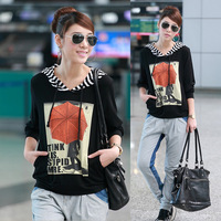 new arrival 2013 Plus size clothing autumn mm autumn women casual t-shirt with a hood long-sleeved shirt