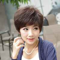 Wig female quinquagenarian wig bulkness elegant short straight hair