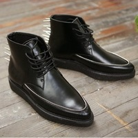 free shipping 2013 autumn male shoes nail boots nail super pointed toe boots