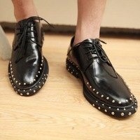 free shipping Rivet leather shoes leather men's shoes, men shoes painted light Bullock shoes