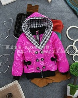 Wholesale 4 pcs/lot 2013 winter thick cotton jackets in children, girls double-breasted jacket free shipping