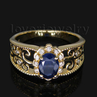 Jewelry Sets Vintage Oval 5x7mm Solid 14Kt Yellow Gold Diamond Sapphire Ring WU018