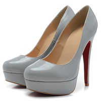 Brand design women sexy patent leather platform pumps 14cm high red sole dress wedding shoes for woman with thin heels