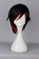 Free shipping 35cm Long Straight RWBY Ruby Rose RedCosplay Wig