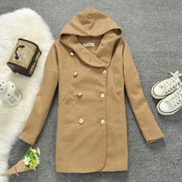 New 2013 Fashion women's y-25  autumn solid color with a hood casual design long slim woolen overcoat