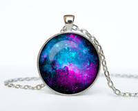 10pcs/lot NEBULA Pendant Galaxy Necklace Turquoise White Jewelry Necklace for him Art Gifts for Her