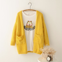 Free Shipping Small . fresh candy color pocket mohair sweater loose cardigan female medium-long outerwear