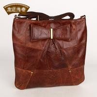 2013 New Vintage Women Genuine  Leather Messenger  Bag  Brand Bowknot Shoulder Bag Brown 80902410